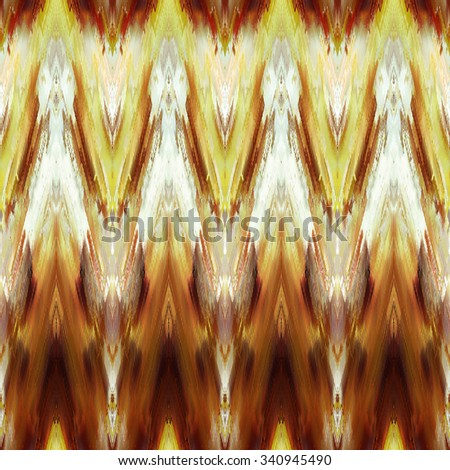 art monochrome ornamental ethnic styled seamless pattern with vertical rows; blurred watercolor background in gold, brown and white colors - stock photo