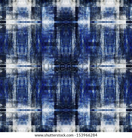 art monochrome ornamental vintage seamless pattern in blue, black and white colors - stock photo