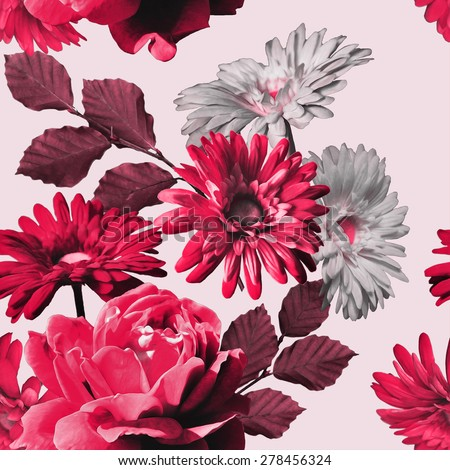 art monochrome vintage floral seamless pattern with red pink and white roses and gerbera on light background  - stock photo