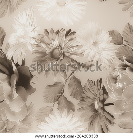 art monochrome vintage watercolor blurred floral seamless pattern with grey and white roses and gerberas isolated on light grey background  - stock photo
