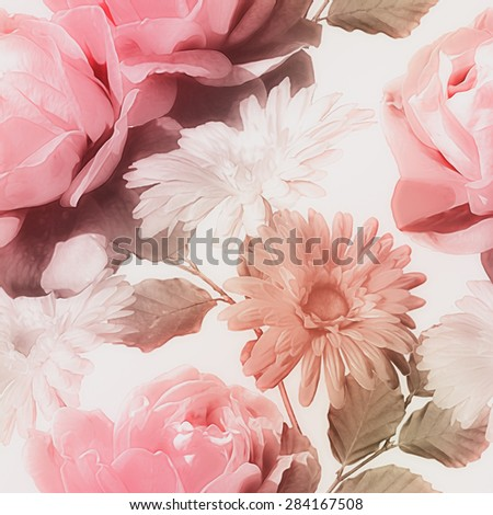 art monochrome vintage watercolor blurred floral seamless pattern with red and white roses and gerberas isolated on white background  - stock photo