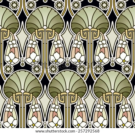 art nouveau abstract pattern in earthy greens and coral colors - stock photo