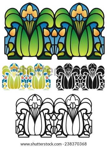Art nouveau border elements, fantasy flowers. - stock photo