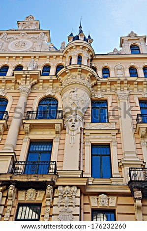 Art Nouveau Building (buit in 1904) Alberta street  in Riga, Latvia. Architect Mikhail Eisenstein. - stock photo