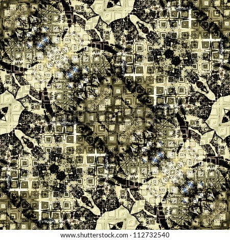 art nouveau colorful ornamental vintage pattern in black and green - stock photo