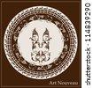 art nouveau design for decorative plate - stock photo