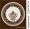 art nouveau design with iris flower - stock photo