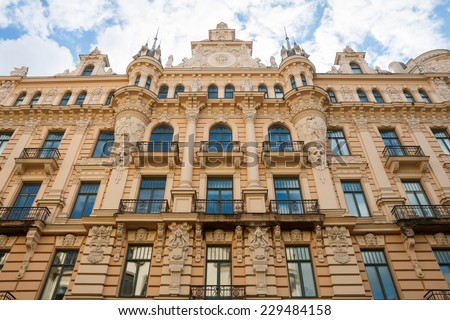 Art nouveau district in Riga, Latvia - stock photo