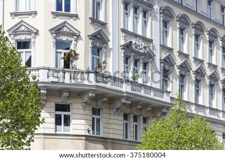 Art Nouveau Facade of an old building in the city of Vienna - stock photo