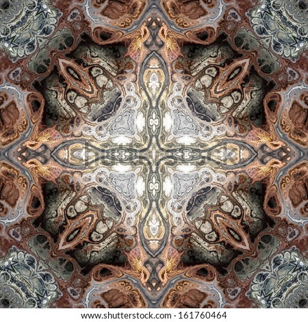 art nouveau geometric ornamental vintage pattern in grey and brown colors - stock photo