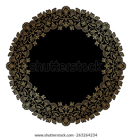 Art nouveau gold frames with space for text. Raster version. - stock photo