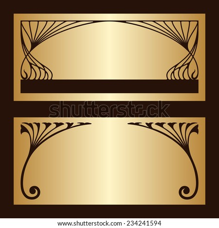 Art nouveau gold invitation cards with space for text. Raster version. - stock photo