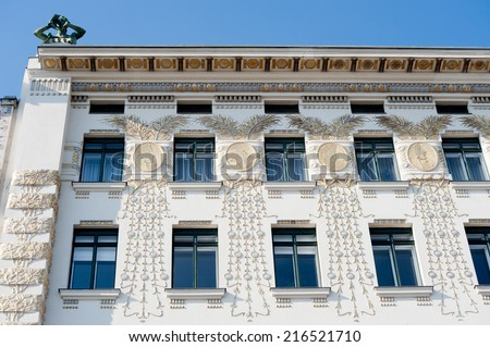 Art nouveau, or Jugendstil, decoration on an Otto Wagner apartment block, built in 1899, Wienzeile, Vienna. - stock photo