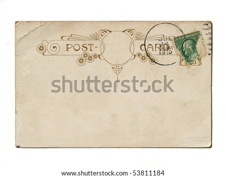 Art nouveau postcard back - stock photo