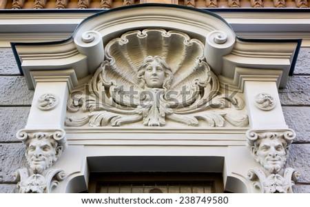 Art Nouveau Sculpture on the Facade of a Palace in Riga, Latvia - stock photo