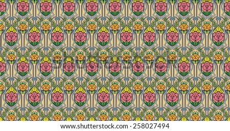 Art nouveau style pattern of roses in light colors - stock photo