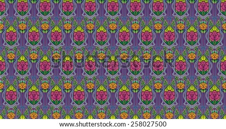 Art nouveau style pattern of roses in rich deep colors. - stock photo