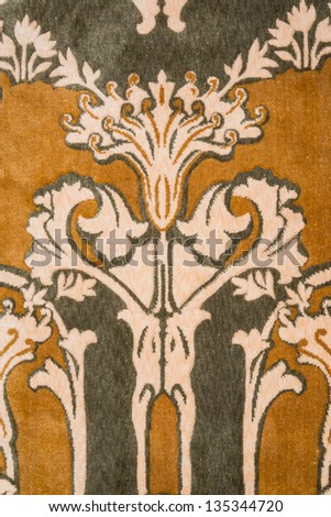 Art nouveau style wool rug - closeup background, texture - stock photo