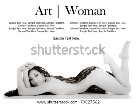 Art of a Woman with Text Space Above - stock photo