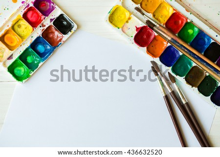 Art of Painting. Painting set: brushes, paints, watercolor, acrylic paint on a white background top down view - stock photo