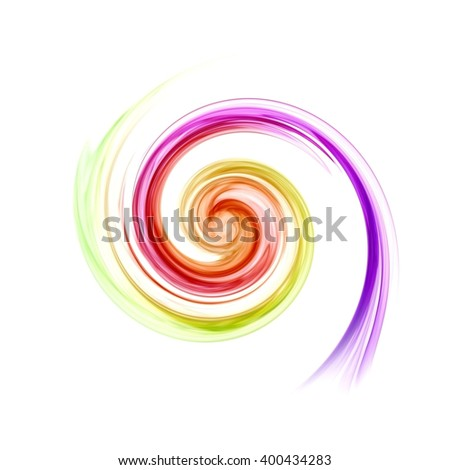 art of twirl colorful smoke on white background