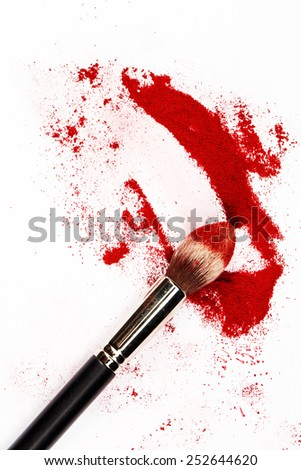 Art of visage.  Horizontal close-up photo of professional black make-up brush with red powder isolated on white background with copy place