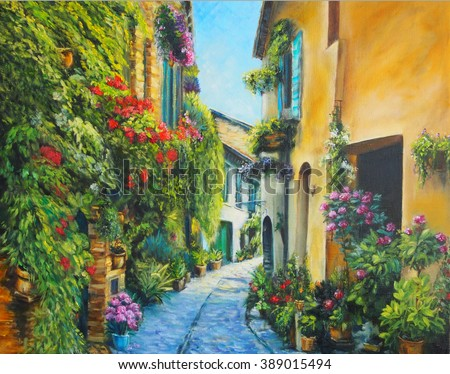 Art Oil-Painting Picture Flower Street in Italy - stock photo