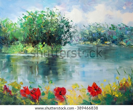 Art Oil Painting Picture Poppies Near The River