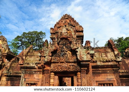 Art on Roof of Banteay Srei Temple, Cambodia - stock photo