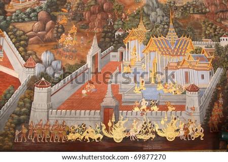 Art on the wall at wat prakaew(Landmark of thailand - stock photo