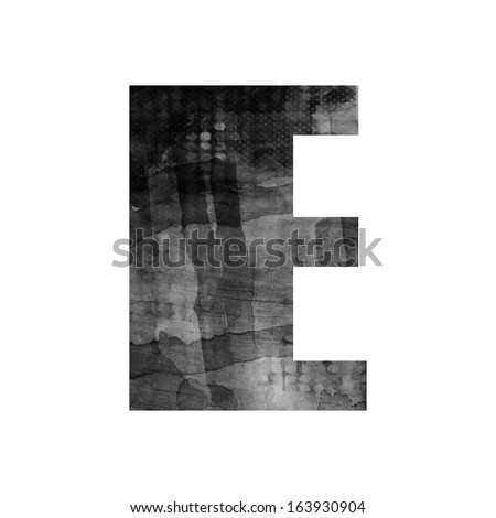 art painted blurred alphabet, black and grey font on white background, sign E