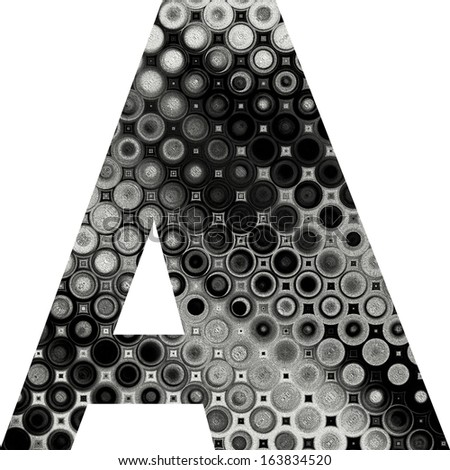 art painted halftone alphabet, black, grey and white font on white background, sign A