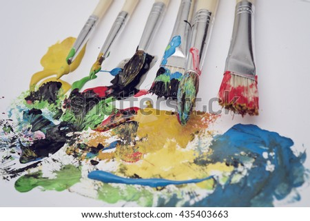 Art painting brushes and colorful paste
