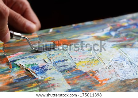 Art painting with palette knife - stock photo