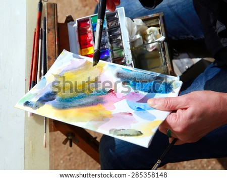 Art painting with watercolors. - stock photo