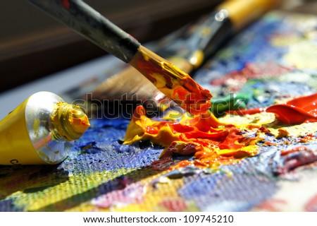 Art palette - stock photo