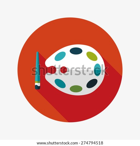 Art palette with paint brush flat icon with long shadow,eps  - stock photo