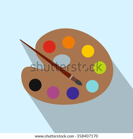 Art palette with paint brush flat icon with long shadow. Single modern illustration on a light background  - stock photo