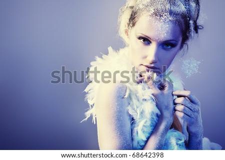 Art portrait of a beautiful woman. Fashion, beauty. - stock photo