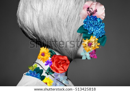 Art portrait of blonde woman sexy model collage with no face, black and white with colorful silk ribbon flowers on face