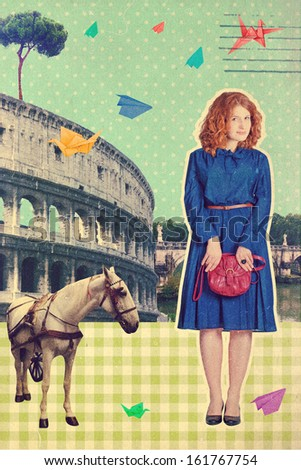 art postcard Roma, Italy, vintage style - stock photo