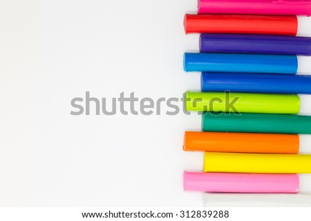 Art rainbow colours playing clay on white background