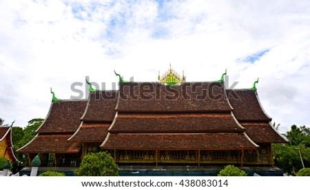 Art roof of Buddhist Temple in Luang Prabang, Laos - stock photo