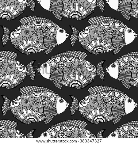 Art seamless pattern with Hand drawn fish with floral elements in black and white doodle style. Pattern for coloring book
