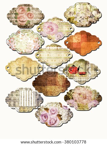 Art set of vintage frame lables isolated on white