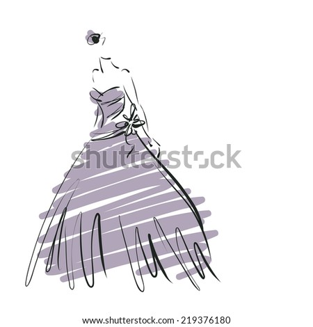 art sketch of beautiful young bride in dress and with the bride's bouquet isolated on white  background. Raster version