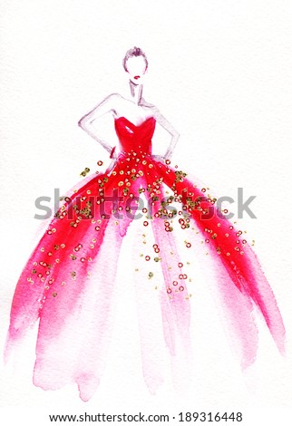 Fashion designing sketches dresses