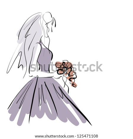 art sketching beautiful melancholy young bride in violet dress with the bride's bouquet on white background.  Vector version is also in my gallery. - stock photo
