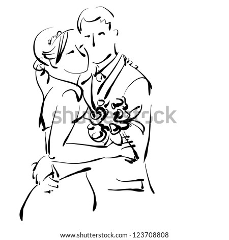 art sketching beautiful young  bride in white and groom with the bride's bouquet. Vector version is also in my gallery. - stock photo
