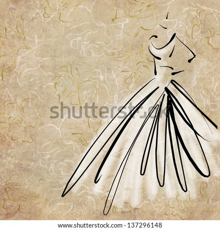 art sketching of beautiful young bride in white dress, on floral beige background - stock photo